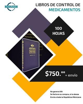Libro de Control de Medicamentos (100 hojas)