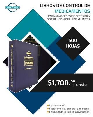 Libro de Control de Medicamentos para Almecenes (500 hojas)