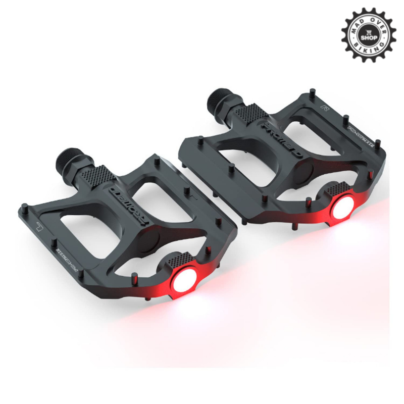 PROMEND Aluminium Alloy DU Bearing Lightweight Bicycle Pedals with inbuilt Safety Warning Light