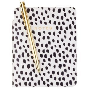 Black and White Dot Luxe Pocket Journal with Pen