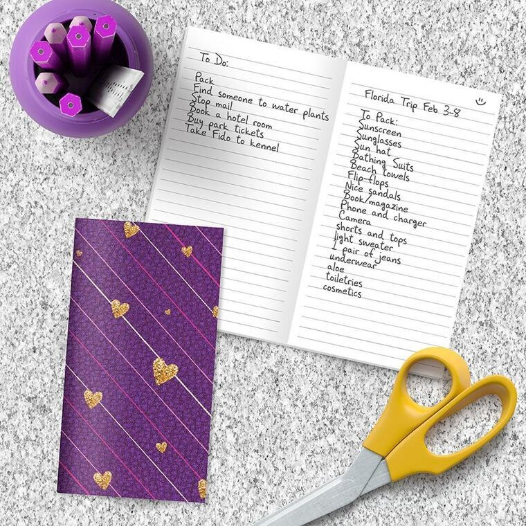 Purple with Gold Hearts Pocket Notebook