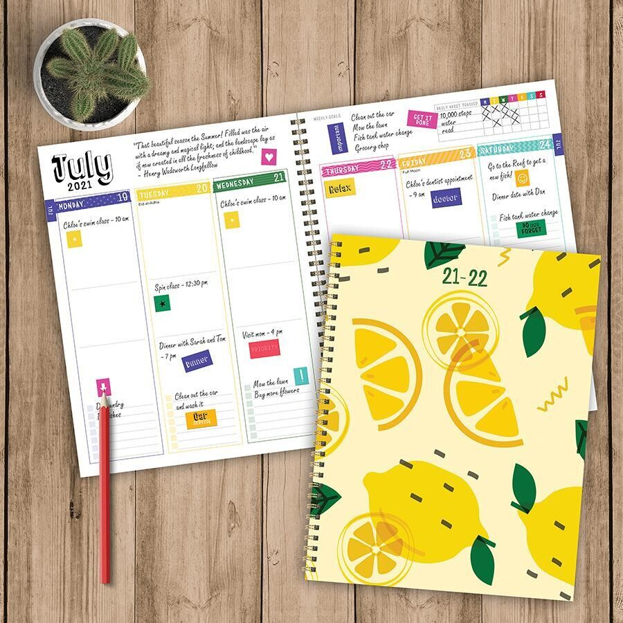 Lemon Slice Spiral Weekly/Monthly Planner w/ Stickers