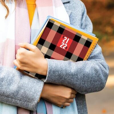 Red Plaid Monthly Planner