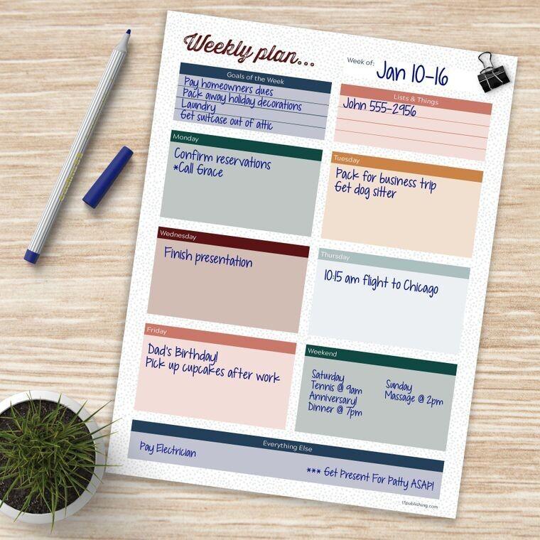 Weekly Planner Task Pad
