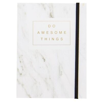 White Marble  Do Awesome Things Journal