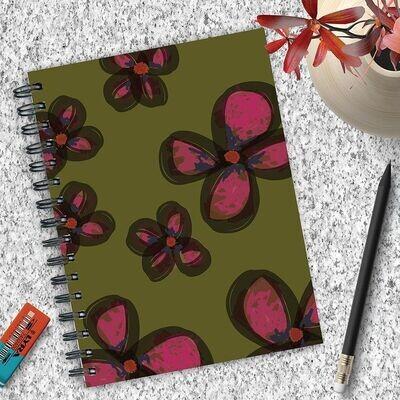 Pink Watercolor Flower Spiral Journal