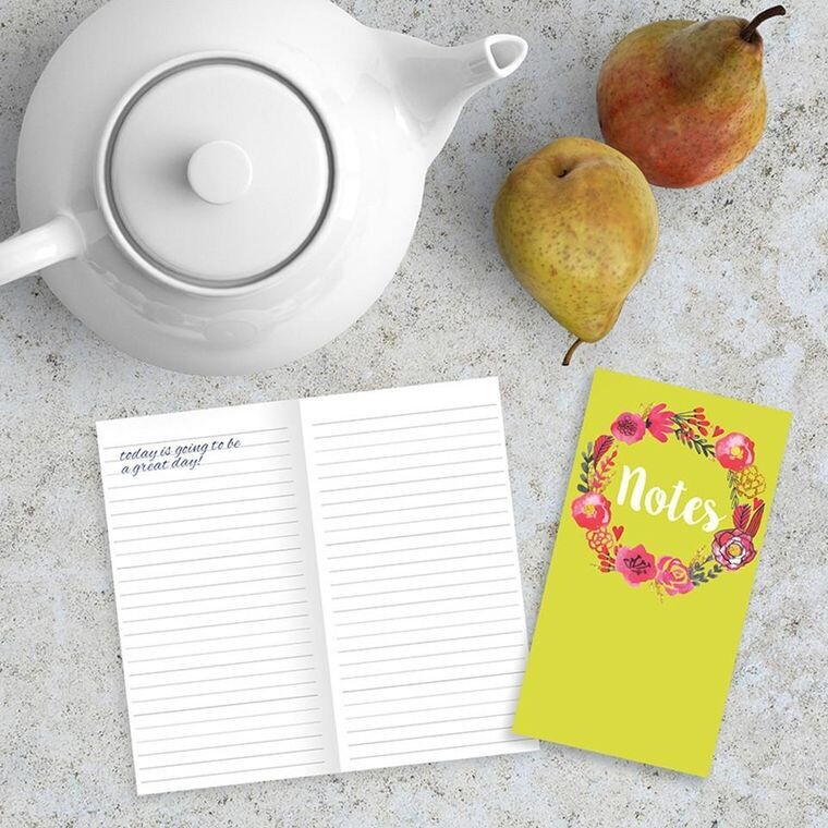 Lime Green Flowers Pocket Notebook