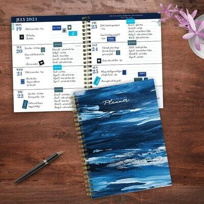Blue Paint Strokes Weekly/Monthly Spiral Planner