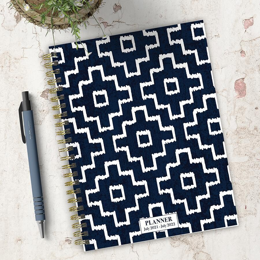 Blue Geometric Weekly/Monthly Spiral Planner