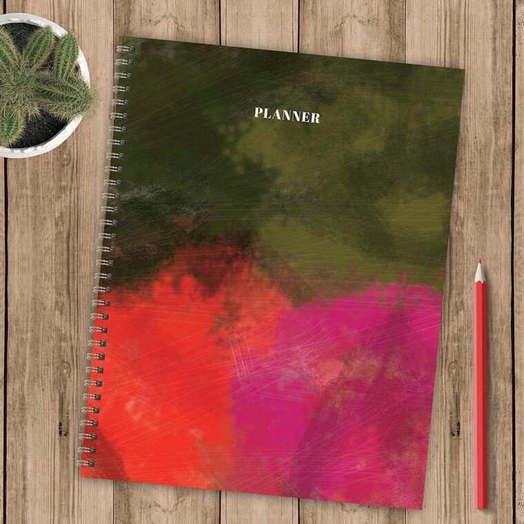 Green Pink and Orange Painted Undated Planner