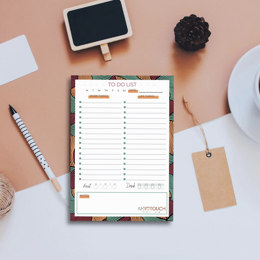 Dual To-Do List Notepad: AfroSwirl