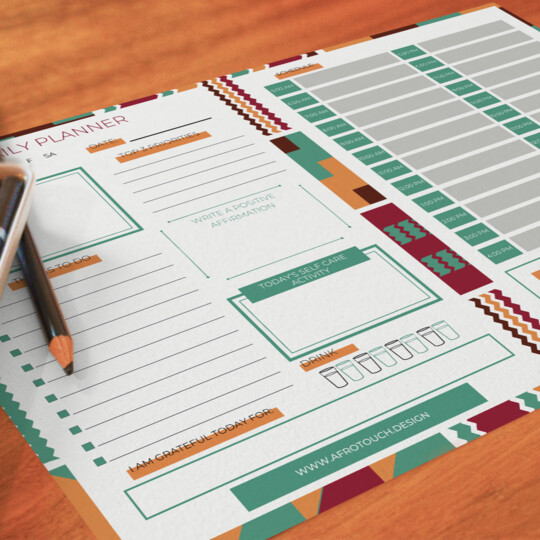 Afrocentric Daily Planner Notepad