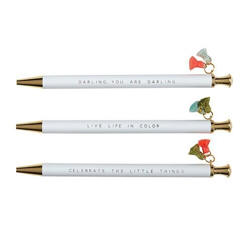 Tassel Pens: White with Gold  3-pack