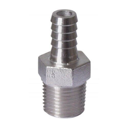 """SS304 NPT 1/4"""" to 1/4"""" Barb"""