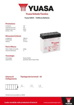 BATTERIA YUASA 52015