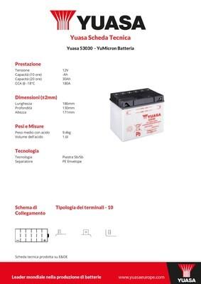 BATTERIA YUASA 53030C/ACIDO