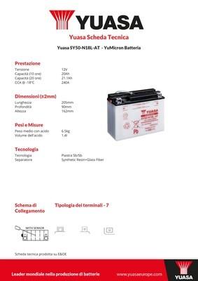 BATTERIA YUASA SY50-N18L-AT