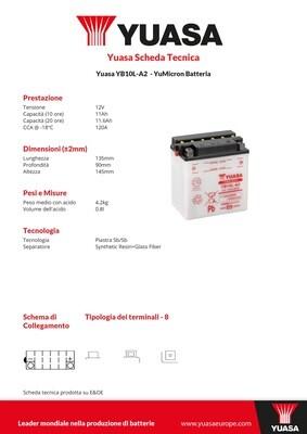 BATTERIA YUASA YB10L-A2C/ACIDO
