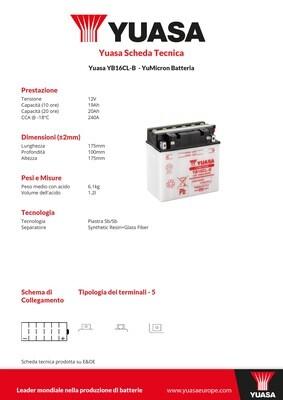 BATTERIA YUASA YB16CL-B CON ACIDO