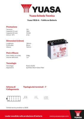 BATTERIA YUASA YB18-A