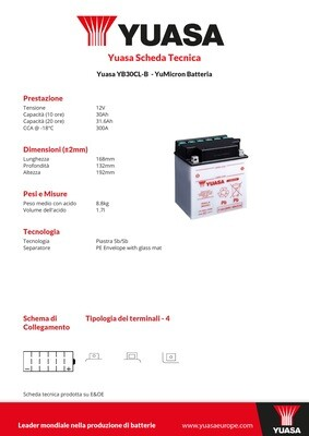 BATTERIA YUASA YB30CL-B