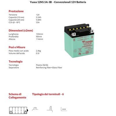 BATTERIA YUASA MOTO E SCOOTER 5,5Ah 12N5.5A-3B per Yamaha RD 350 73-75