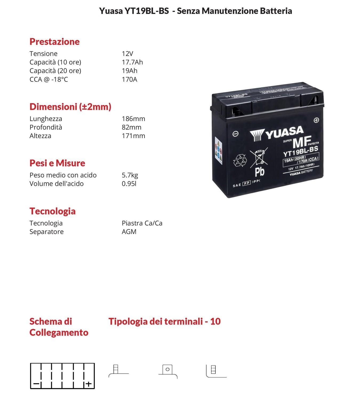 BATTERIA YUASA MOTO E SCOOTER Sigillata 174.7ah YT19BL-BS con ACIDO per BMW K1100RS 94-01