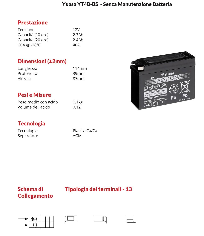 BATTERIA YUASA MOTO E SCOOTER Sigillata 2.3ah  YT4B-BS con  per Suzuki 50 TR S Street Magic 98-98
