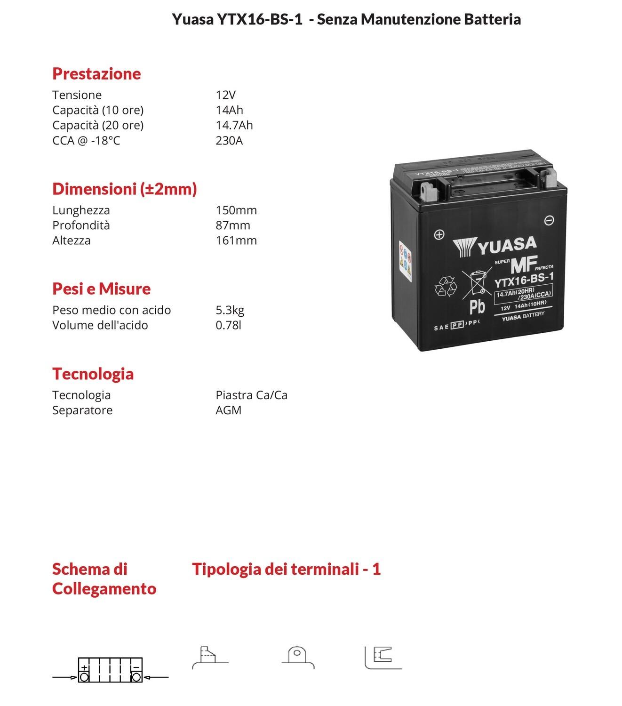 BATTERIA YUASA MOTO Sigillate 14 ah YTX16-BSC/ACIDO per Kawasaki ZR 1100 82-97