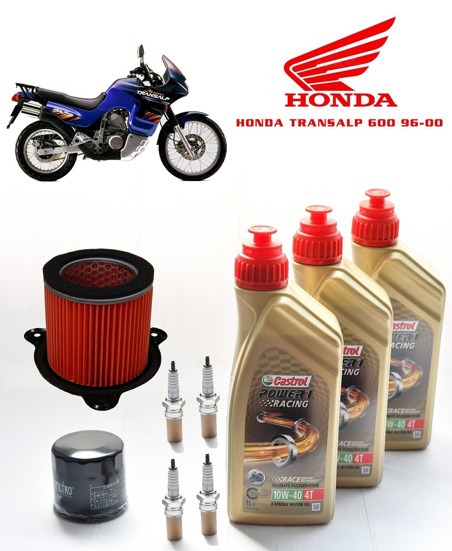 Kit Tagliando Moto HONDA TRANSALP 600 96-00, Filtro olio, aria, candele, olio motore