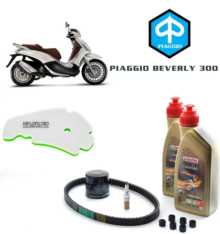 Kit Tagliando scooter PIAGGIO BEVERLY 300 10-15, filtro olio e aria, rulli, olio motore, candela e cinghia