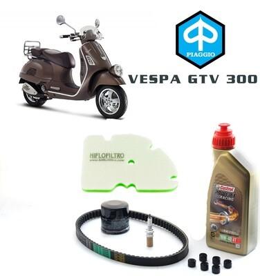 Kit Tagliando scooter PIAGGIO Vespa GTV 300 10-14, olio motore, filtro aria e olio, rulli e candela