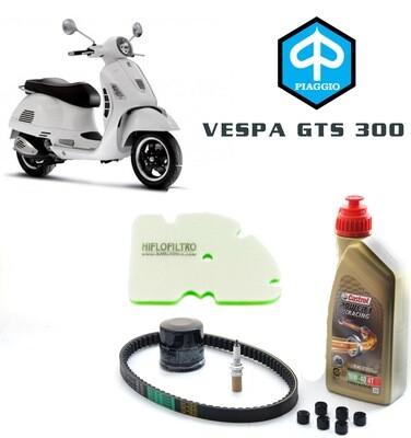 Kit Tagliando scooter PIAGGIO VESPA GTS 300 08-18, olio motore, filtro aria e olio, rulli e candela