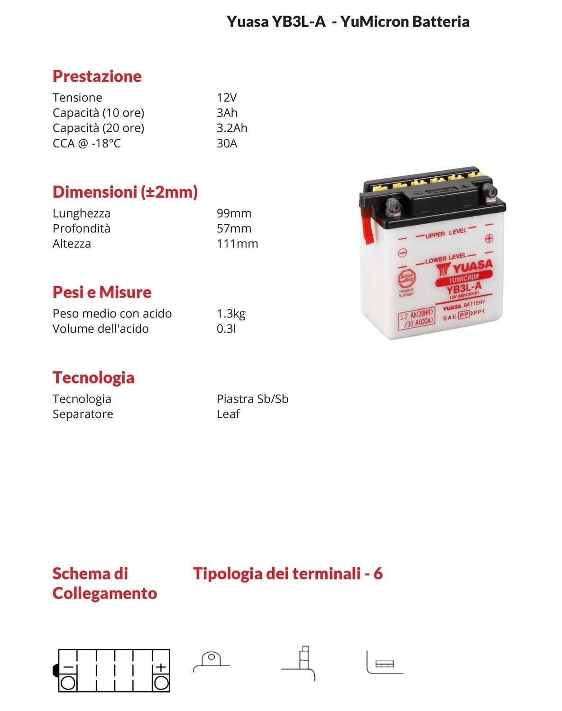 BATTERIA YUASA MOT0 3Ah YB3L-A per XL R 500 -82