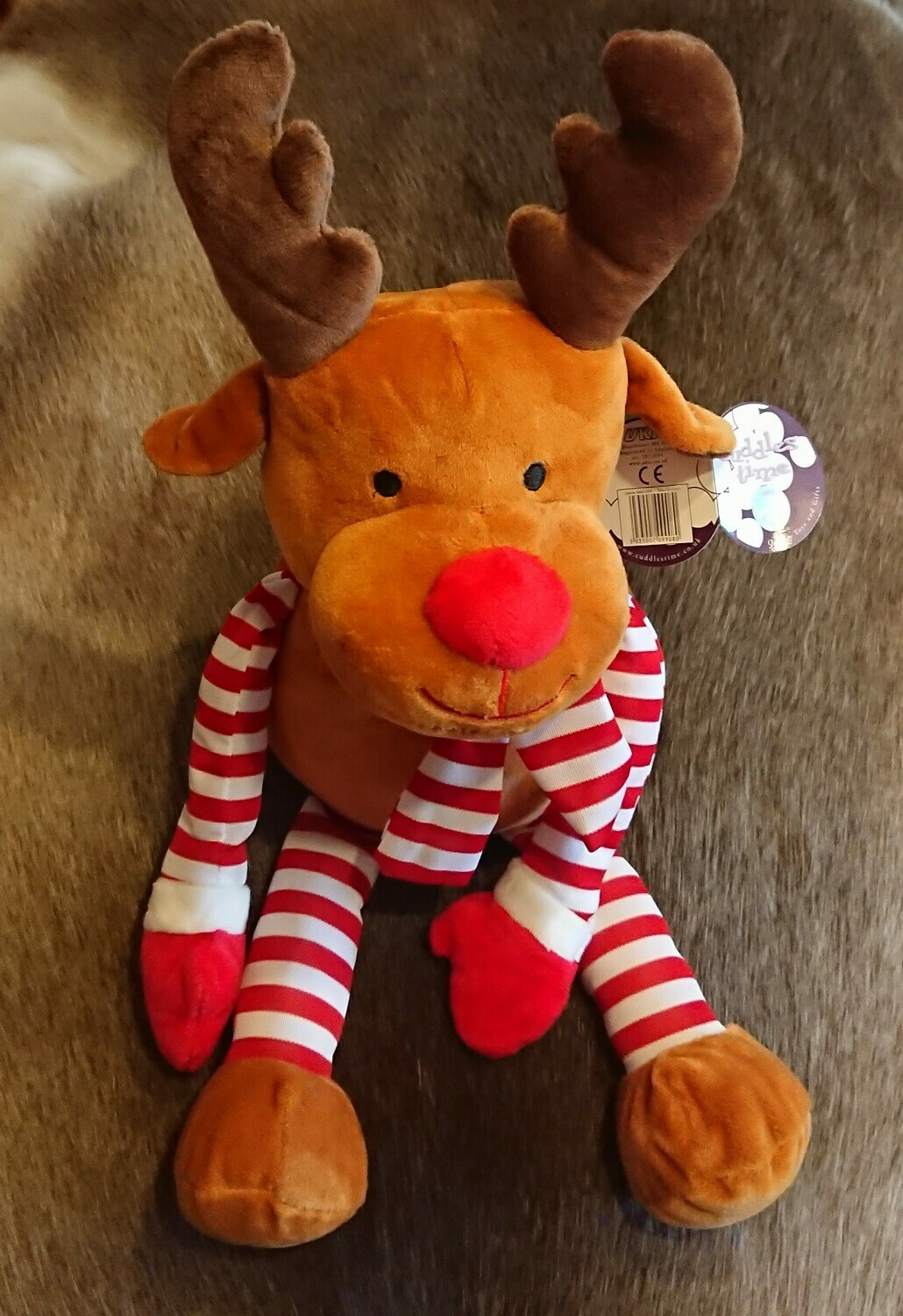 Stripy Cuddly Soft Reindeer