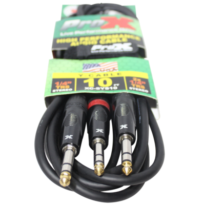 """ProX XC-SYS10 (10ft 1/4"""" TRS-M to Dual 1/4"""" TRS-M High Performance Cable)"""