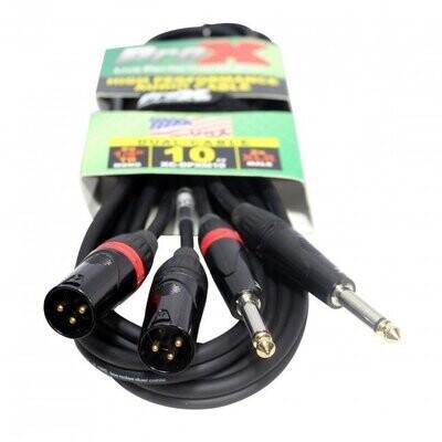 "ProX XC-DPXM10 (10ft Unbalanced Dual 1/4"" TS-M to Dual XLR-M High Performance Cable)"