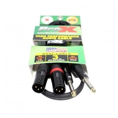 "ProX XC-DPXM03(3ft Dual 1/4"" TS-M to Dual XLR-M High Performance Cable)"