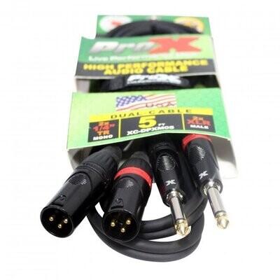 "ProX XC-DPXM05 (5ft Dual 1/4"" Unbalanced TS-M to Dual XLR3-M High Performance Cable)"