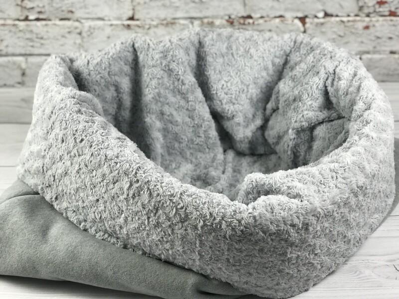 BINNEN-BÜDDEL // Fleece Hellgrau Melange mit Rosenplüsch Grau // Modell HERA // auf Lager
