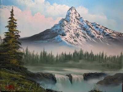 Original Brandon Thomas Oil Painting ( Misty Falls) SHIPS FREE USA
