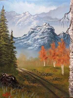 Original Brandon Thomas Oil Painting ( Birch Road) ships free usa