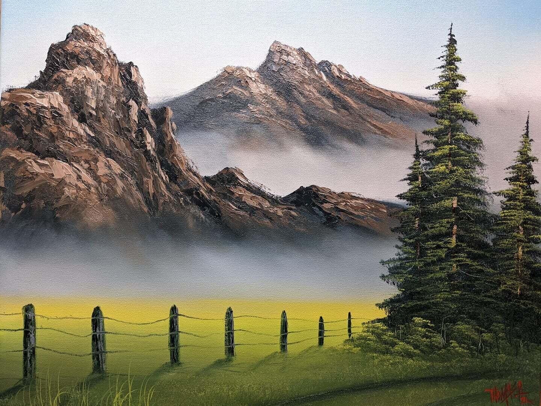 Original Brandon Thomas Oil Painting ( Mist On The Mountains) ships free USA