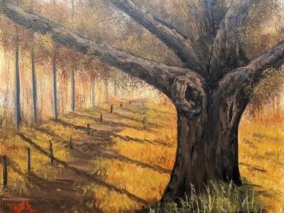 Original Brandon Thomas Oil Painting ( Falling into Autumn) ships free usa