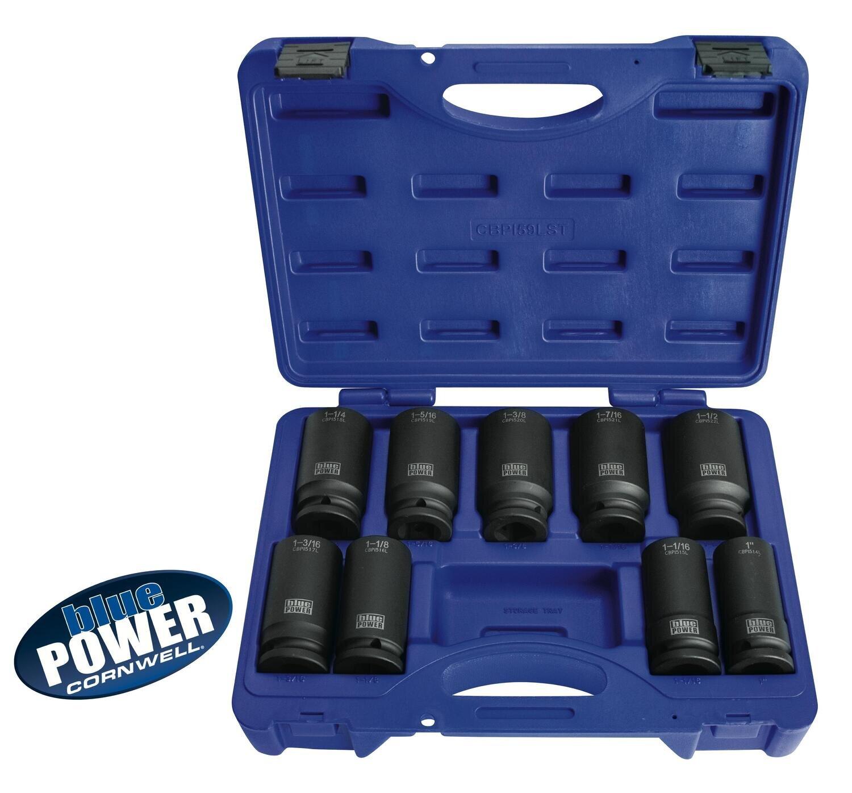 """CBPI59LST - 9 Piece 3/4"""" Drive bluePOWER® SAE Deep Power Socket Set, 6 Point"""