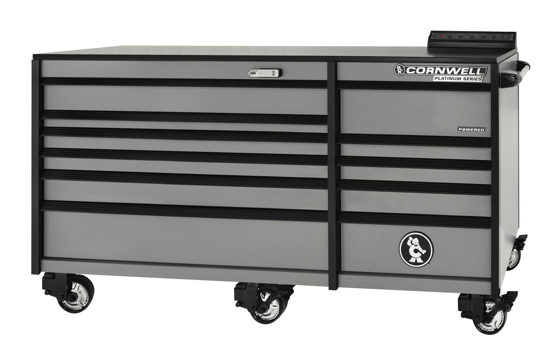 "CTSPLR8411KMS - PLATINUM™ 84"" 11 Drawer Double Bank Cabinet, Matte Silver Gray"