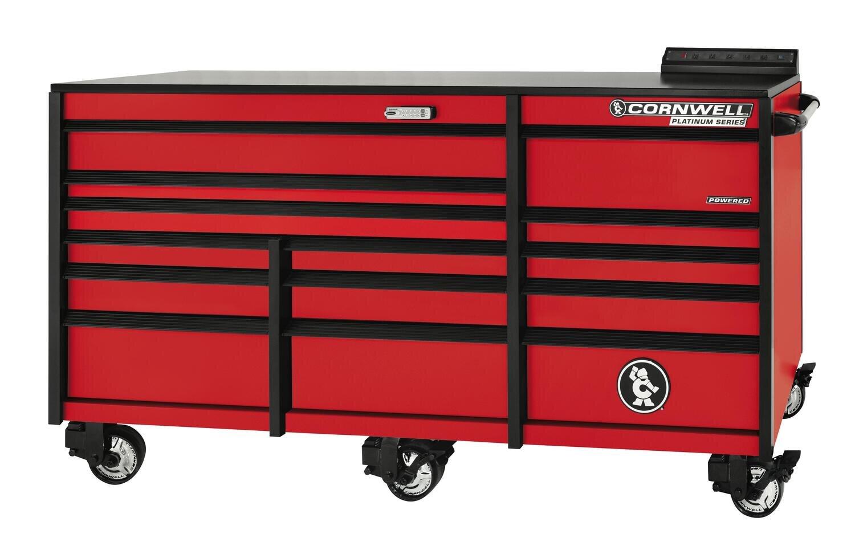 """CTSPLR8414KMR - PLATINUM™ 84"""" 14-Drawer Triple Bank Cabinet, Matte Red"""