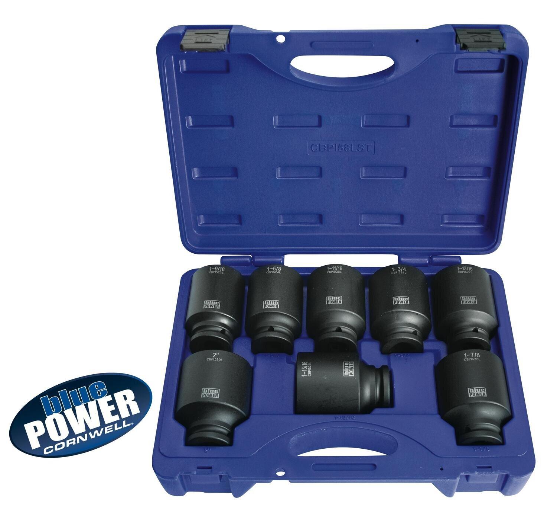 """CBPI58LST - 8 Piece 3/4"""" Drive bluePOWER® Deep Power Socket Set, 6 Point"""