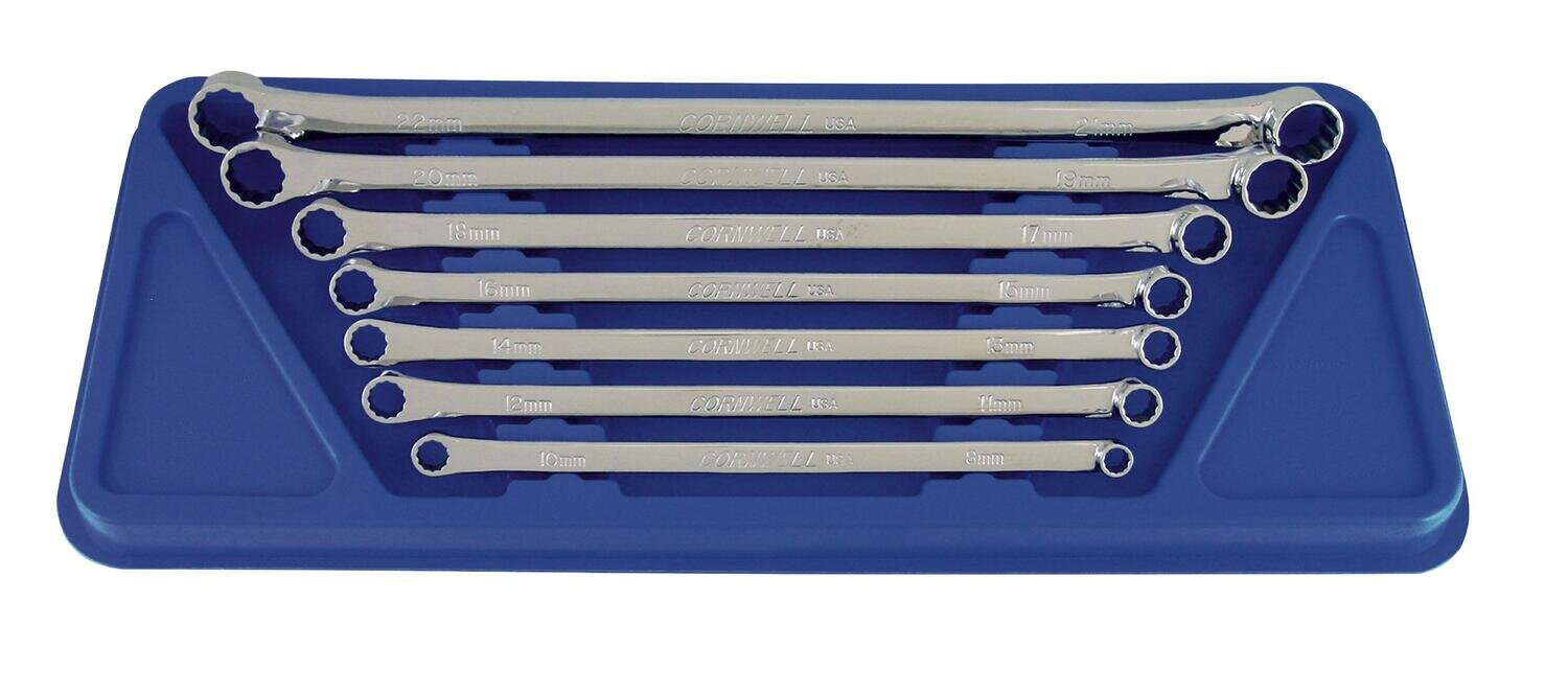 WBWMLOHP7ST - 7 Piece Metric Long Offset High Performance Box Wrench Set, 12 Point