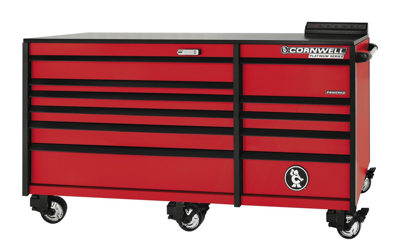 """CTSPLR8411KMR - PLATINUM™ 84"""" 11 Drawer Double Bank Cabinet, Matte Red"""